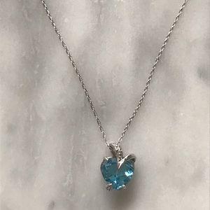 14K White Gold Aquamarine Heart Charm Necklace